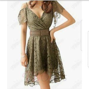 Sleeveless V Neck  High Waist Lace Dress